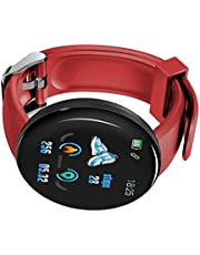 perfk Smartwatch Android Watch Man Cinturino Sportivo/da Lavoro di precisione, Batteria ai polimeri di Litio IP65,90 mAh Resistente all'Acqua - Rosso