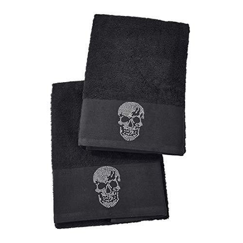 DONE Handtuch und Duschtuch Black-Line Stone im Doppelpack - 5 Motive mit Strass-Steinen in schwarz oder Silber - Exklusives Frottee Set 100% Baumwolle, Farbe:Black 4203, Größe:Skull_B05