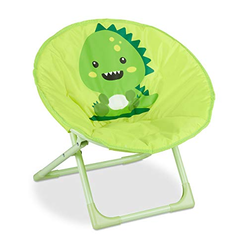 Relaxdays Moonchair Kinder, klappbarer Mondstuhl In-& Outdoor, Kinderklappsessel, Monster, HBT: 48,5 x 51 x 48 cm, gelb, 1 Stück