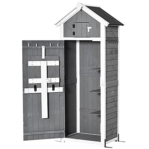 Outsunny Garden Wood Storage Shed with Workstation, Hooks and Ground Nails Multifunction Lockable Sheds & Outdoor Storage Asphalt Roof Tool Organizer, 182 x 78 x 52.5cm, Grey