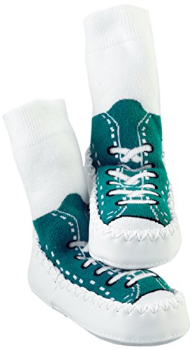 Mocc Ons Cute Moccasin Style Slipper Socks (Sneaker Turquoise)