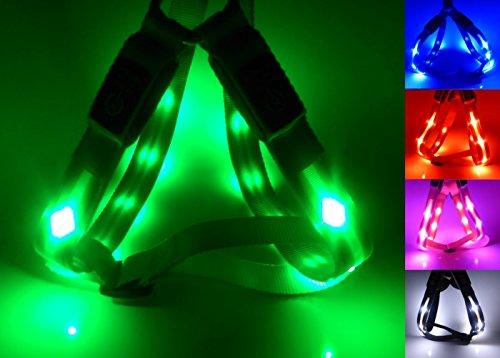 Godoggie-Glow Harnais pour chien à LED réfléchissant et ultra-lumineux rechargeable USB 4 couleurs 3 tailles