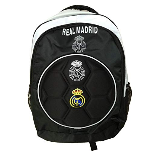 Real Madrid FC Backpack Soccer Back Pack Authentic Sports Fan Shoulders Bag Back To School Bag With Raised Ball Design