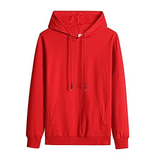Primavera Otoño Color Sólido Casual Hombres Sudaderas Sudaderas Harajuku Streetwear Sudaderas, rosso, XXXXL