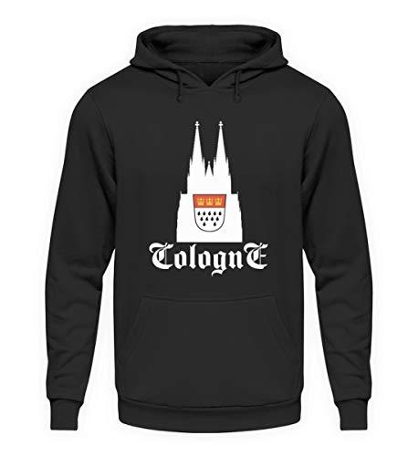 Cologne Kölner Dom mit Stadtwappen - Unisex Kapuzenpullover Hoodie -L-Jet Schwarz