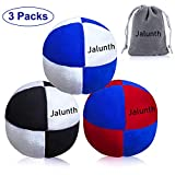 Jalunth Hacky Sack Footbag Balls Juggling Balls for Beginners & Professional Kids & Adults Bulk Set of 1 2 3 with Portable Carry Bags (3 Pack)