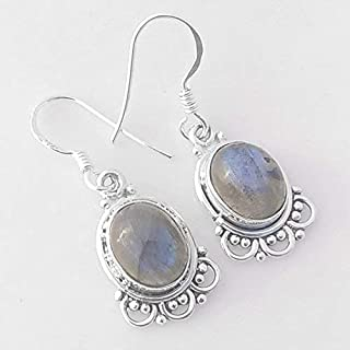 Natural Labradorite Vintage 925 Sterling Silver Earrings, Handmade Jewelry for Women, Sterling Silver Earrings