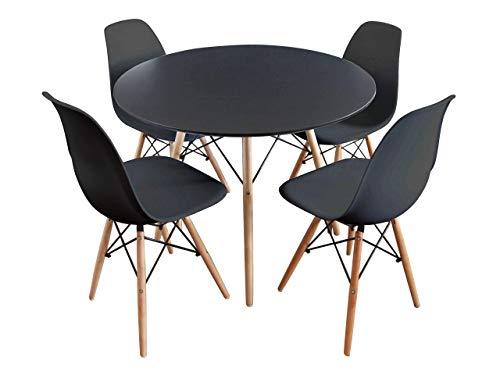 Mirjan24 Essgruppe, Tisch Fiorino Runde + 4X Stühle Fiore, Esstisch mit Stuhl Set, Sitzgruppe, Tischgruppe, Küchentisch mit 4 Stühlen (Schwarz)