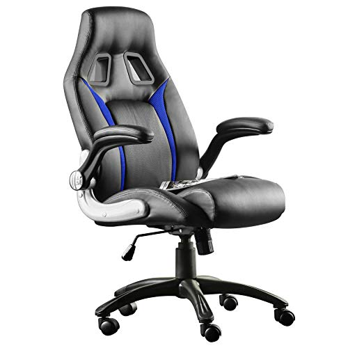 Furgle Gaming Chair Home Office Executive Ergonomic Chair High Back Computer Chair PU Leather Chair Adjustable Swivel Task Chair (Black&Blue)