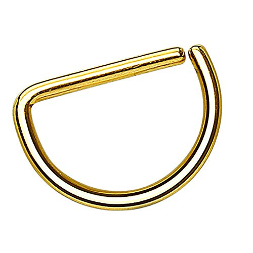Taffstyle Piercing Continuous D-Ring Fake Klemmring Dünn Septum Tragus Helix Nase Lippe Ohr Nasenring Ohrpiercing Hoop Clip On Gold 0,8mm x 8mm