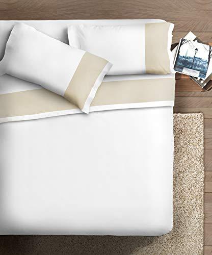 Ipersan Completo Matrimoniale con Bordo in Raso di Cotone, Organico, Panna Fondo Bianco