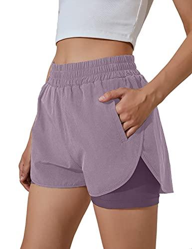 BMJL Women's Running Shorts Elastic Waistband High Waisted Shorts Pocket Sporty Workout Shorts Gym Athletic Shorts Pants (S,Purple)