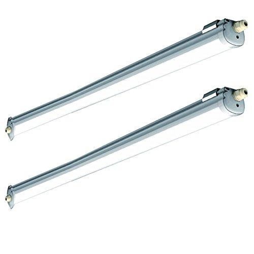 2x LED Feuchtraumleuchte Deckenleuchte Feucht- und Nassraum, Kellerleuchte - IP65, 2880lm, 36W, 4000K, LED - Garage, Werkstatt, Parkhaus, Keller