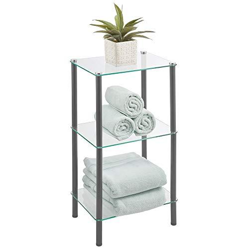 mDesign Moderna estantería de baño con patas de metal – Organizador de baño de cristal con tres baldas – Elegante estantería de cristal para baño, despacho o dormitorio – transparente y gris oscuro