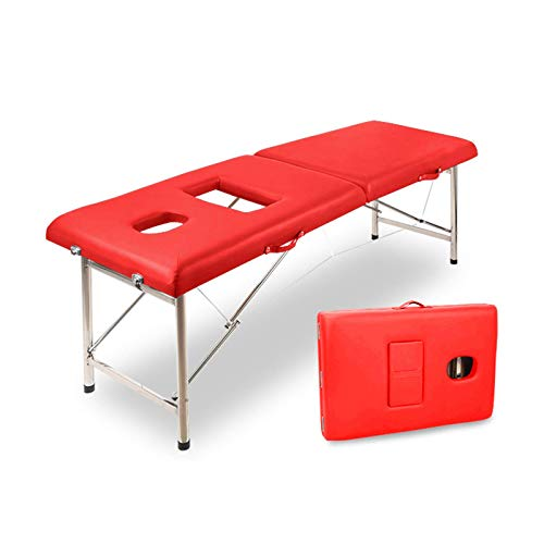 "Amplia, profesional, 2, plegable, portátil, mesa de masaje, salón facial, spa, tatuaje, cama con pata de aluminio (cojín de espuma de 2,56 ""de grosor) para la sala de estar de la oficina en casa"