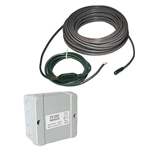 Elektrische Dachrinnenheizung mit Thermostat | Frostschutz 20 W/m | zum Schutz vor Frostschäden, Länge:50.00m