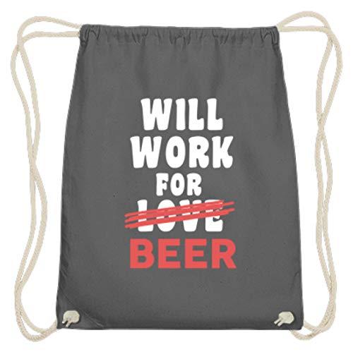 Spiritshop Will Work For Love Beer – Bolsa de algodón para el gimnasio, para el amor o para la lucha por la cerveza – beber, alcohol, hombre, color gris grafito, tamaño 37cm-46cm