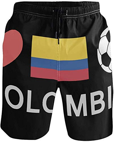 Colombia Football Soccer Men's Beach Shorts Swimming Trunks Quick Dry Boardshorts with Pockets Mesh Lining M