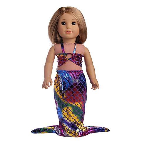 Hinleise Puppenkleidung Kostüm für 45,7 cm große American Girl Puppe – Meerjungfrau Badeanzug Outfits Zubehör