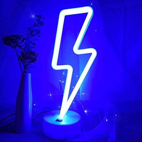 VIFULIN Blue Lighting LED Lights for Bedroom Neon Signs for Wall Decor Room Decor for Teen Girls Gifts for Teenage Boys USB/Battery Cool Gadgets Cool Things Gaming Accessories with Holder(Blue)