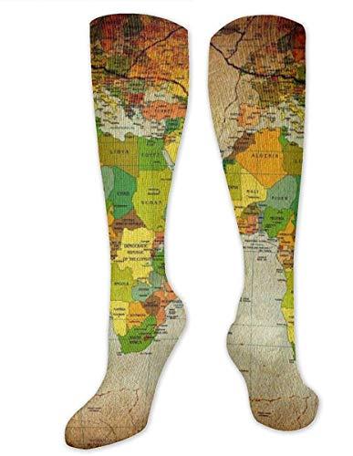 NA Vintage Wall Art World Map - Calcetines de compresión para mujeres y hombres, los mejores calcetines médicos, de enfermería, viajes y vuelo, para correr y fitness