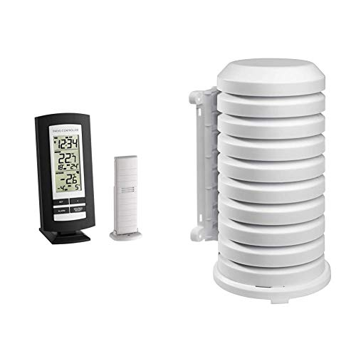 TFA Dostmann Funk-Thermometer Basic, 30.3037.01, Funkuhr mit Alarm, mit Außensender & TFA Dostmann Schutzhülle für Sender Artikel, 98.1114.02, leicht zu montieren, weiß