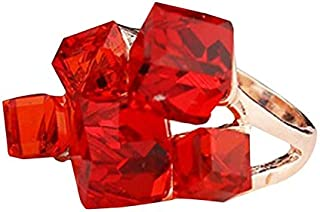 Rings 3 PCS Women Fashion Magic Cubes Crystal Inlay Ring, Ring Size:10(Blue) Rings (Color : Red)