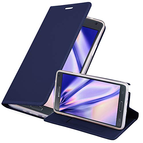 Cadorabo Funda Libro para Samsung Galaxy Note 4 en Classy Azul Oscuro - Cubierta Proteccíon con Cierre Magnético, Tarjetero y Función de Suporte - Etui Case Cover Carcasa