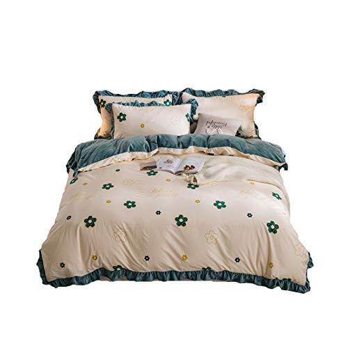 NAFE - Sábana bajera ajustable (4 piezas, juego de ropa de cama de gama alta, bordada, color rojo