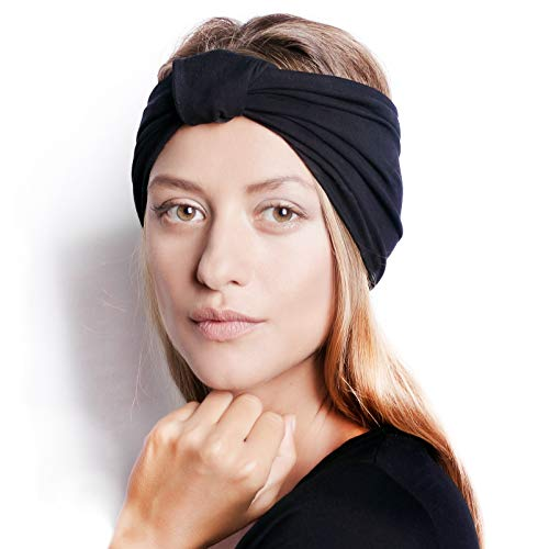 BLOM Original Headbands For Women. Multi Style Design for Yoga Fashion Workout Gym Running Athletic Travel. Wear Wide Turban Thick Knotted. Comfort Stretch Versatility. Ethically Made in Bali. (Black)