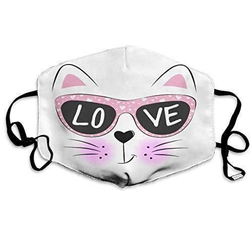 Schöne süße Katzengesicht Sonnenbrille Text Liebe ist wiederverwendbar Waschbare Gesichtsschutzhülle für den persönlichen Schutz