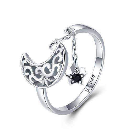 Jewelgift - Anillos ajustables para mujer, plata de ley 925, diseño de luna y estrella, cadena larga, circonitas cúbicas, color negro