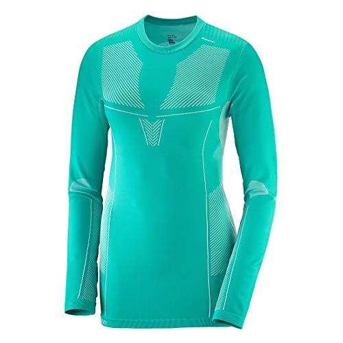 SALOMON Primo Warm LS CN Tee W T-Shirt pour Femme Bleu (Waterfall)