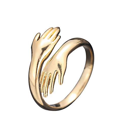 Anillo de plata de ley 925 – Anillo ajustable para manos de abrazo, anillo de amor con manos abiertas para mujeres y hombres (ORO -1PC)
