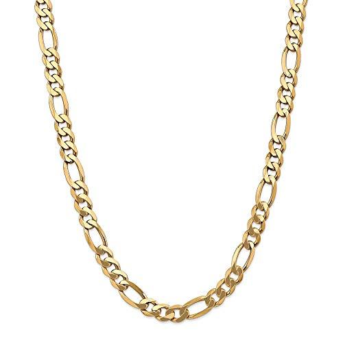 14ct geel goud Solid gepolijst kreeft Claw Sluiting 8.75mm Flat Figaro ketting armband - kreeft Claw - 20 Centimeters
