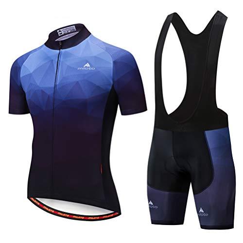 Uriah Men's Cycling Jersey Bib Shorts Sets Short Sleeve Reflective Blue Dark Size 5XL(CN)