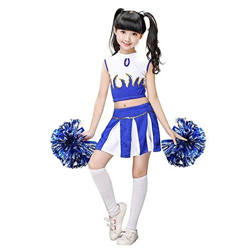 G-Kids Cheerleaderkostuum voor meisjes, cheerleaderkostuum, uniform, carnaval, party, Halloween, kostuum met 2 pompons sokken (blauw, lichaamslengte 145-155 cm)