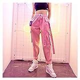 JUNTOP pantalón Punk Holgado para Mujer, Harajuku Hip-Hop MODELES MOMBRES Mujeres Altas Pantalones Coreanos Cinta Pantalones Rosa Pantalones Mujeres Sueltas Jogging Pantalones Deportivos Bolsillos