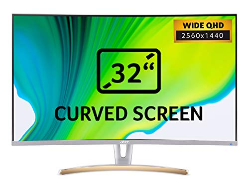 Acer ED323QURwidpx 31.5 inch WQHD 1800R Curved Monitor - (VA Panel, 75Hz, 4ms, ZeroFrame, DP, HDMI, DVI, White)