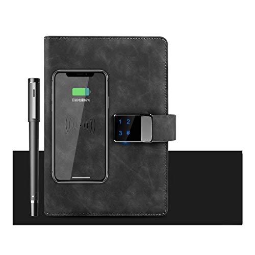 ZJH Diario A5 digitale con lucchetto a combinazione per notebook, taccuino elettronico di fascia alta e intelligente, con 10000 mAh, colore: nero