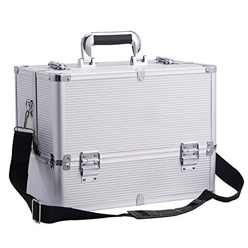 Large Make up Box Nail Polish Jewellery Cosmetic Box Beauty Vanity Case (Silver)