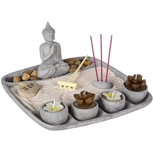 HOGAR Y MAS Jardín Zen con Buda de Cemento con 4 Velas, Decoración Zen, 23x23x12c