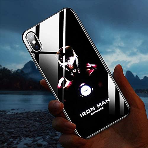 JOHN COOLL Naruto Sasuke Chiamata Flash Luminescente Vetro Anti-all Cellulare Shell Illuminato per Iphone11 pro max/XR X/XS Max 7/8plus (Iron Man, iPhone 11 pro)