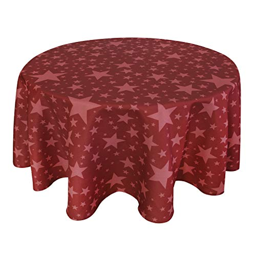 Valia Home Tischdecke Tischtuch Tafeldecke abwaschbar wasserdicht schmutzabweisend Lotuseffekt pflegeleicht Teflon behandelt rund (Weihnachten, rund 140 cm)
