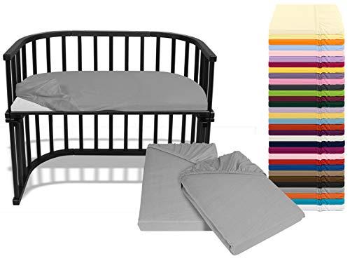 Emily´s Check Doppelpack Bettlaken für Beistellbett - Wiege - Stubenwaagen 1493.2123, ca. 40 x 80 cm, Silbergrau