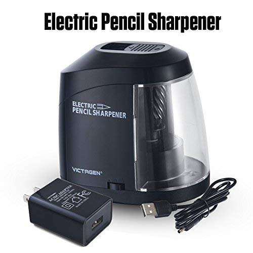 Victagen Electric Pencil Sharpener, AC Adapter or Battery Operated Helical Blade Pencil Sharpener with Auto Stop, Artist, Students, and Office, Kids Friendly
