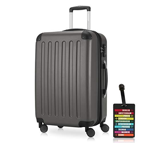 Hauptstadtkoffer - Spree Hartschalen-Koffer Koffer Trolley Rollkoffer Reisekoffer Erweiterbar, 4 Rollen, TSA, 65 cm, 74 Liter, Graphit inkl. Design...