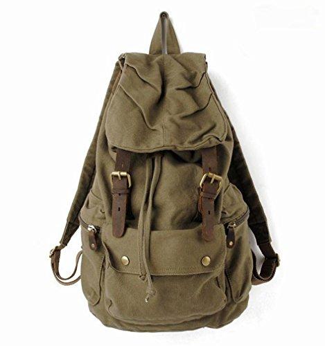 sulandy@ Sac à dos / sac de voyage / sac de randonnée en toile vintage Unisexe- Brun (vert armée)