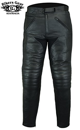 Bikers Gear UK Pantalón de Moto Sturgis de Cuero Reforzado Certificado CE Negro 44 Corto