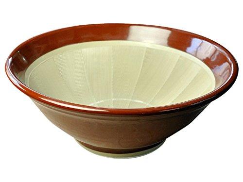 元重製陶所 石見焼 すり鉢 8号 直径25cm・すべり止め付) 赤茶色